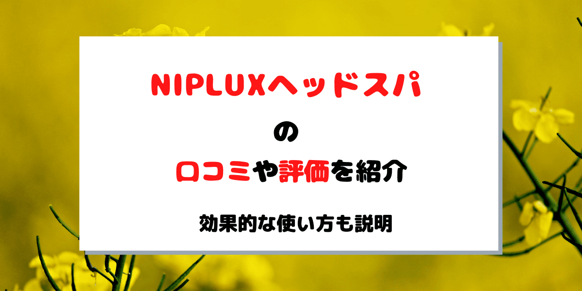 NIPLUXヘッドスパの口コミや評価は?効果的な使い方も紹介